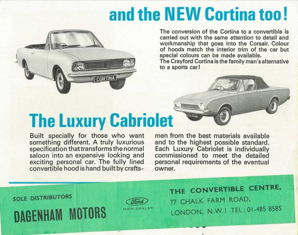 Crayford Corsair brochure back cover