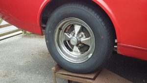 Cleaned up Cal Chrome wheel with new tyre. On the rear as they have a slightly deeper outer off set.