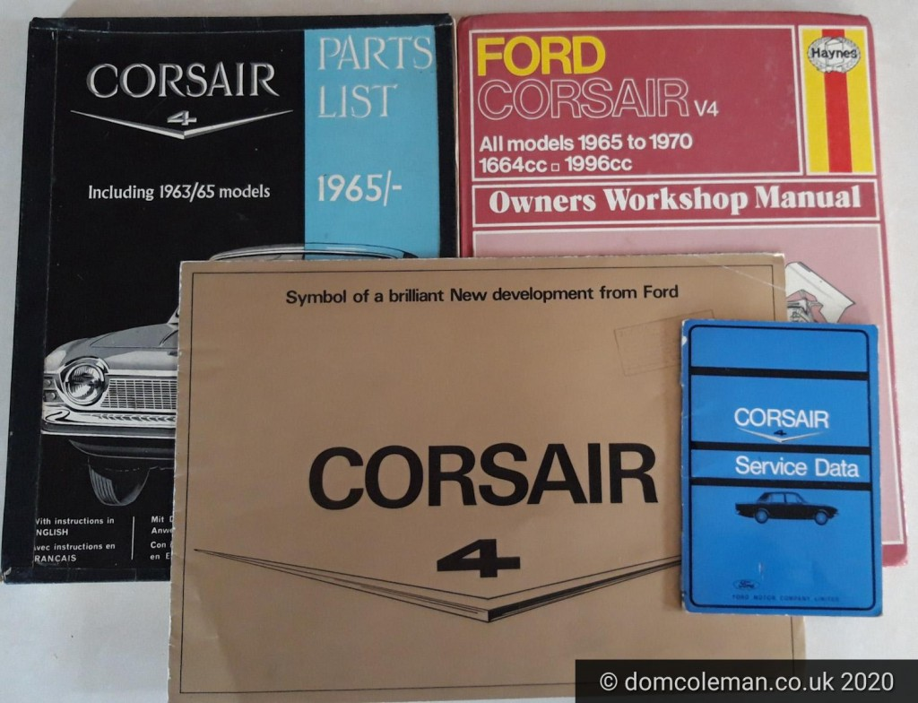 Ford Corsair V4 brochure, parts list, Haynes manual and service data booklet